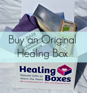 healing boxes grace quantock original healing box hospital gift on white background with turquoise banner and text 'buy an original healing box'