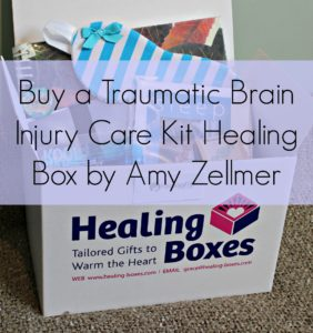 TBI traumatic brain injury amy zellmer Healing gift box on white background