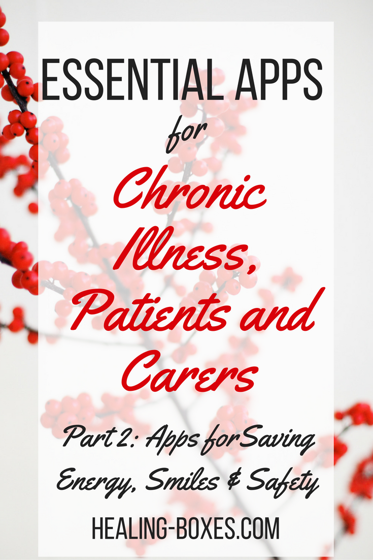 Essential apps for chronic illness, patients and carers part 2: apps for saving energy, smiles and safety healing-boxes.com text on top of image of a spray of red berries on a white background