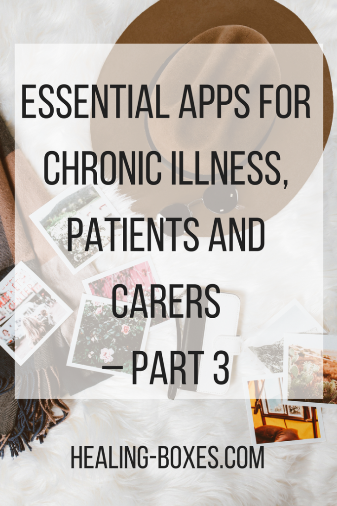 Essential apps for chronic illness, patients and carers - part 3 - text over a flat lay of a photo of a brown felt hat and polaroid photos on a blanket