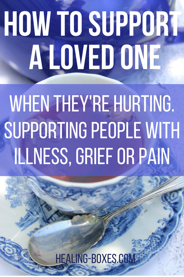 how to support a loved one when they're hurting. Supporting people with illness, grief or pain. Healing-Boxes.com text on top of photo of blue tea pot and willow patterned tea cup, rose tea and silver spoon