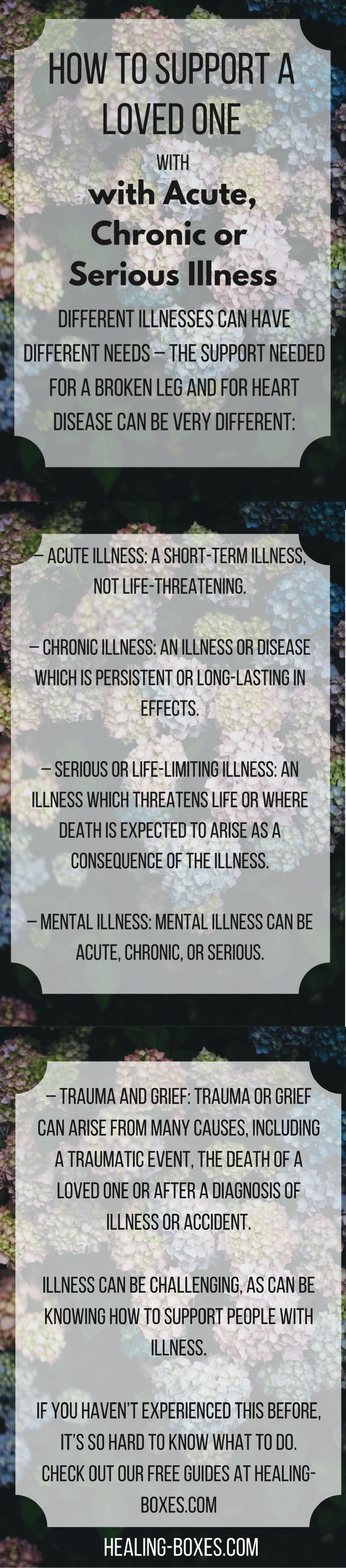 Pinterest Graphic: text is the first paragraphs of article on top of image of hydrangeas: Illness is challenging, and so is knowing how to support people with illness. If you haven't experienced this before, it's so hard to know what to do. Different illnesses can have different needs – the support needed for a broken leg and for heart disease can be very different. – Acute illness: a short-term illness, not life-threatening. – Chronic illness: an illness or diseases which is persistent or long-lasting in it's effects. – Serious or life limiting illness: an illness which threatens life or where death is expected to arise as a consequence of the illness. – Mental illness: mental illness can be acute, chronic, or serious. – Trauma and grief: trauma or grief can arise from many causes, including a traumatic event, the death of a loved one or after a diagnosis of illness or accident.