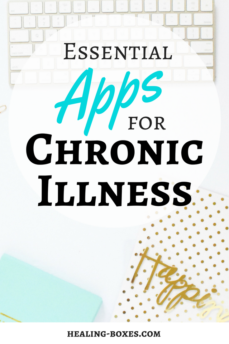 photograph of desk words on top: Essential Apps for Chronic Illness Healing-Boxes.com