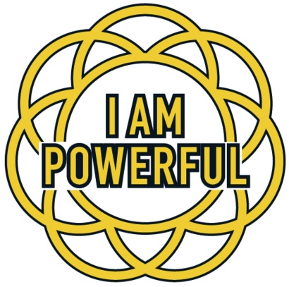 The words 'I Am Powerful' in a chakra symbol