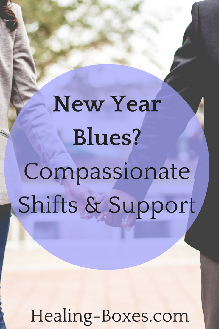Two people holding hands, african american, blue circle over the photo, text: New Year Blues? Compassionate Shifts and Support