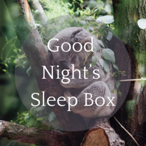 good night's sleep box - text in white over photograph of a koala sleeping in a tree, all curled up