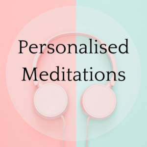 Personalised meditations text over picture of pink headphones on a mint and pink background
